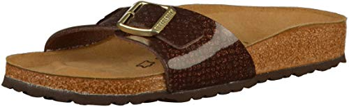 BIRKENSTOCK Damen Madrid Birko-Flor Pantoletten, Gr.-41 EU, Magic Snake Brown (1011757) Brown Snake