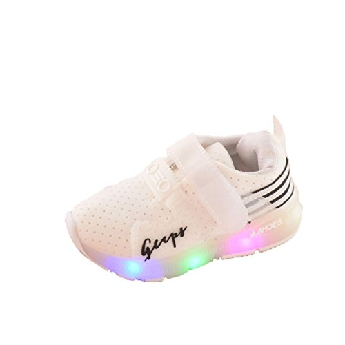 Herbst Kind SportSchuhe, QinMM Baby Kleinkind Schuhe Jungen MäDchen Sport Running LED Leuchtende Schuhe (25, Weiß)