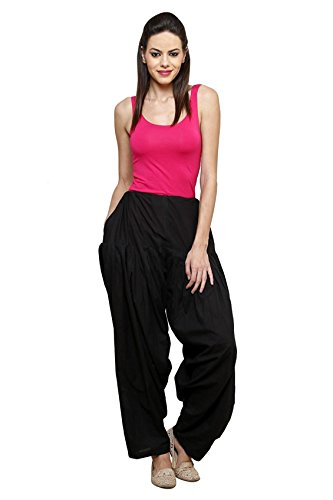 I Shop Traditional Patiala Salwar 100% Cotton Free Size (BLACK)