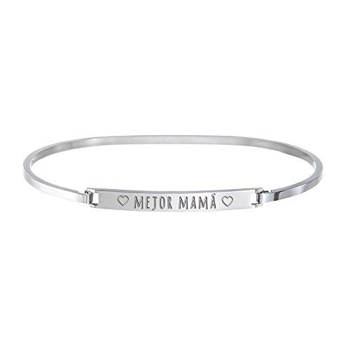 """Pulsera para señoras – Brazalete en acero inoxidable con grabado para mama – """"Mejor Mamá"""" – En plata – Idea de regalo para el Día de la Madre – Regalos para madres"""