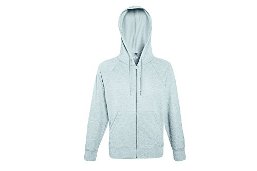 Fruit of the Loom Herren Kapuzenpullover Lightweight Hooded Sweat Jacket Grau (Heather Grey 94)