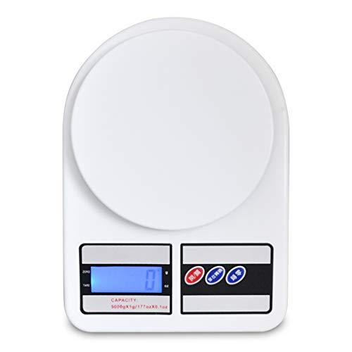 Básculas de cocina Escala electrónica de discos grandes multifuncional para el hogar balanza electrónica de alimentos horneados retroiluminación azul pantalla digital 1g-5kg Básculas de cocina