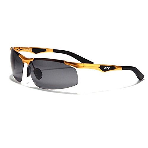 Wawoo Herren Sonnenbrille schwarz gold