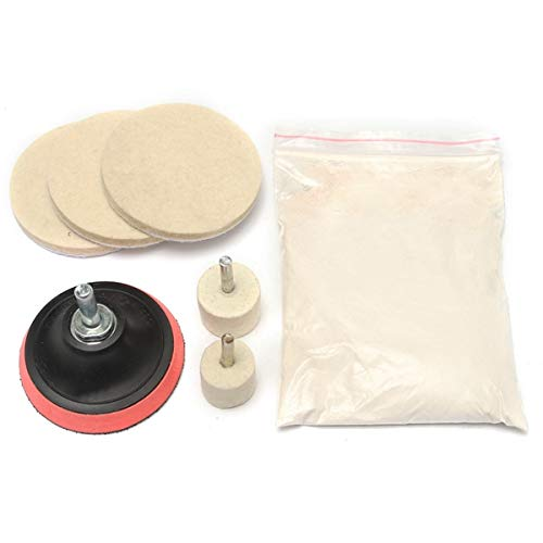 Forspero Glass Scratch Remover Polishing Kit Cerium Oxide Powder Powder Wheel And Felt