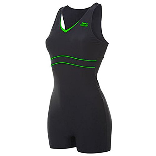 slazenger-womens-boyleg-legsuit-ladies-swimming-costume-swimsuit-beachwear-boyleg-black-green-14-l