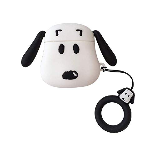 Ultra Dicke weiche Silikon Hülle für Apple Airpods mit Ladehülle Schutz Mini Tasche Cute Lovely Kawaii Fun Mädchen Teenager Frauen, Snoopy Cute Apple