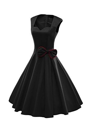 LUOUSE Vintage années 50 's Style Audrey HepburnRockabilly Swing, Robe de soirée cocktail Noir