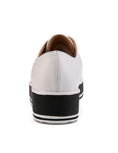 ZQ hug Scarpe Donna-Stringate-Tempo libero / Formale / Casual-Creepers / Comoda-Zeppa-Di pelle-Nero / Bianco , white-us8.5 / eu39 / uk6.5 / cn40 , white-us8.5 / eu39 / uk6.5 / cn40 white-us5.5 / eu36 / uk3.5 / cn35