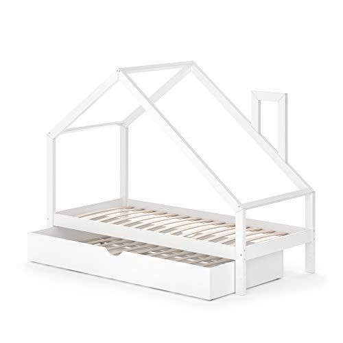 VitaliSpa Funktionsbett Kinderbett Nicole 90x200 mit Bettschublade Holz Haus Spielbett Hausbett weiß