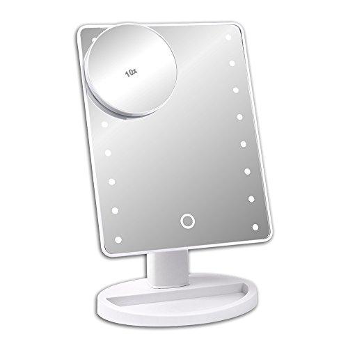 S/O® LED Schminkspiegel weiß mit 10-fach Vergrößerung Schminkspiegel mit LED Make up Spiegel mit Beleuchtung Standspiegel Kosmetikspiegel Badezimmerspiegel Rasierspiegel Kosmetik Spiegel