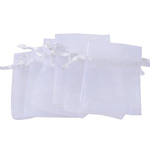 HooAMI Blanc Sachets Pochettes Cadeau en Organza pour Mariage ou Partie 5cm x7cm-25pcs