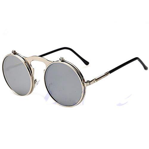 FLDONG Unisex Gothic Steampunk Herren Sonnenbrille Beschichtung, verspiegelt, runde Kreise, Sonnenbrille, Retro Vintage Gr. Einheitsgröße, Sws