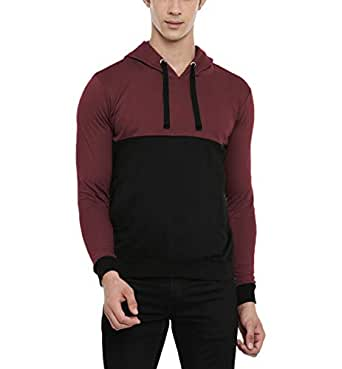 ADRO Men's Fleece Cotton Color Blocked Hoodies (Burgundy; S)