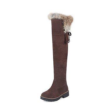 RTRY Scarpe Da Donna In Pelle Nubuck Inverno Moda Stivali Stivali Tacco Basso Punta Tonda Thigh-High Scarponi Per Abbigliamento Casual Marrone Giallo Nero US10.5 / EU42 / UK8.5 / CN43