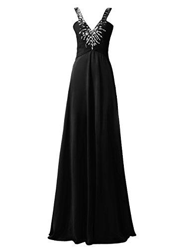 Dresstells Robe de soirée Robe de cérémonie col en V avec bretelles longueur ras du sol Noir