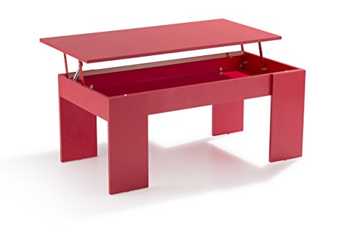 Soliving Push Table Basse Plateau Relevable, MDF, Rouge, 100 x 50 x 43 cm