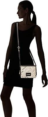 Love Moschino - Borsa Canvas Natu+pu Nero-logo Nero, Bolsos baguette Mujer, Negro (Natural Canvas-black), 7x16x20 cm (B x H T) de Love Moschino