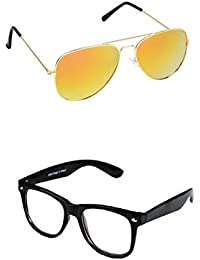 Amour-propre Yellow Mercury Aviator And Clear Lens Black Dandi Frame Wayfarer Sunglasses Combo
