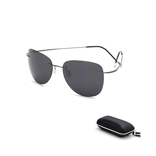 Vikimen Sportbrillen, Angeln Golfbrille,With Case Polarisiert Titanium Sunglasses Polaroid Brand Designer Rimless Gafas Men Sun Glasses Sunglasses For Men ZP2117 C1 CASE