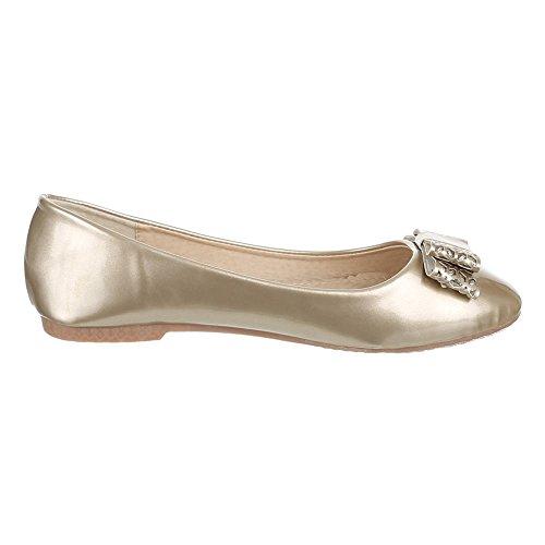 Kinder Schuhe, Z-206, BALLERINAS LACK HALBSCHUHE MIT DEKO Gold