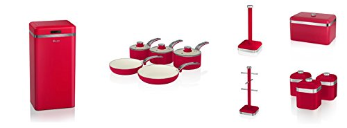 Swan Red Kitchen Accessories Retro Set Of 12 - 5 Piece Saucepan Set , Retro Breadbin, 3 Canisters, Towel Pole, 6 Mug Tree And Sensor Rubbish Bin Set
