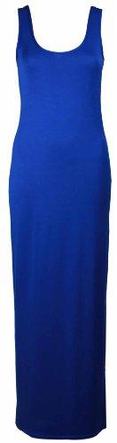 Damen Neu Einfarbig Ärmellos Gesamtlänge Rund U-ausschnitt Womens Sommer Langes Top Stretch Maxi Kleid Königsblau