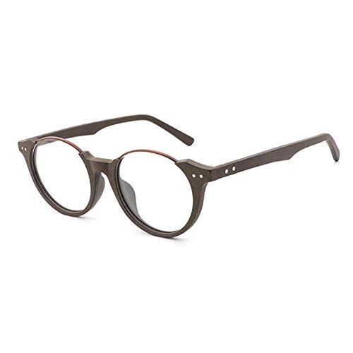 Hibote Männer Frauen Holz Brille - Klare Linse Brillengestell - Runde Brillen 18020709
