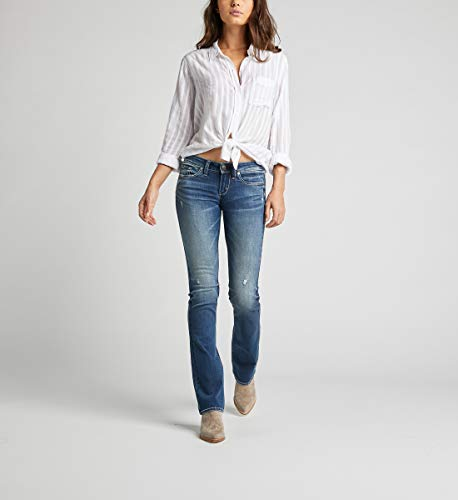 Distressed Denim Bootcut Jeans (Silver Jeans Co. Damen Tuesday Low Rise Slim Bootcut Jeans, Medium Indigo Distressed, 36W x 31L)