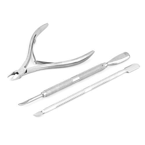 gfjfghfjfh 3 Stück Edelstahl-Nagel-Häutchen-Löffel-Schieber-Remover-Schnitt Nipper Clipper Cut Remover Schneider Trimmer-Kunst-Maniküre-Werkzeug -
