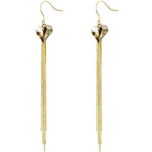 Neoglory Jewellery 14 K Gold mit Swarovski® Elements Ohrringe Herz lang (Kostüm Schmuck Troddel Halskette)