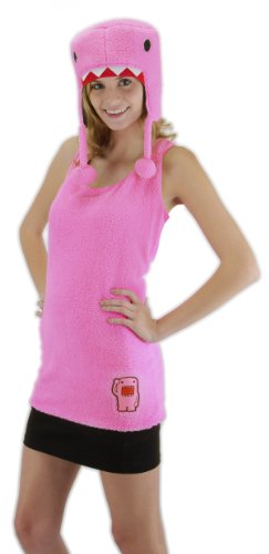 (Domo Tank Shirt & Hat Costume Set Pink Adult Small/Medium)