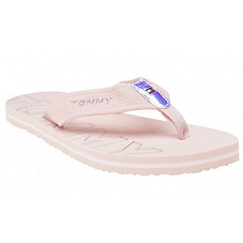 Plattform-flip-flop-sandalen (Tommy Hilfiger Damen Iridescent Detail Beach Sandal Zehentrenner, Pink (Silver Peony 658), 39 EU)