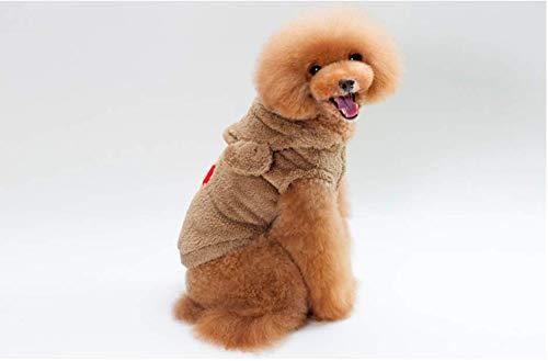 PZSSXDZW Herbst und Winter Pet Kleidung Teddy Bichon Kleine Hundekleidung Tragen Sie eine Kapuzenjacke Brown X-Large
