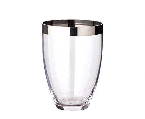 EDZARD Vase Charlotte aus Platinglas, Höhe 20 cm, Durchmesser 15 cm Platin Vase
