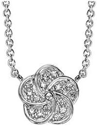 1001 Bijoux - Collier argent rhodié forme fleur oxydes blancs 40+4cm