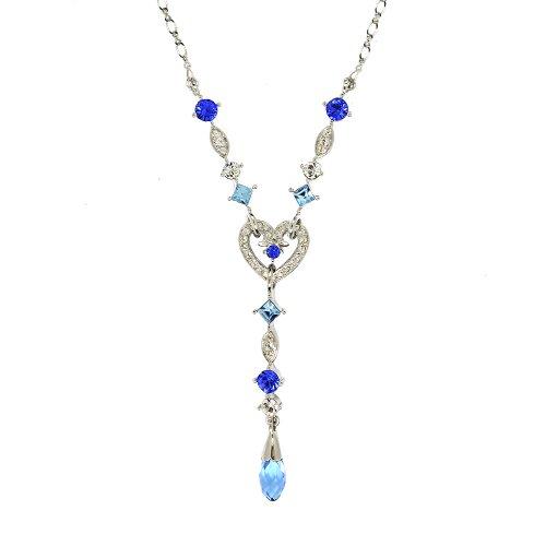 Ballroom Strictly Kostüm - Cristalina Damen-Halskette mit Herz-Anhänger, Y-Form, Briolette, blaues Kristall-Herz, 45cm mit 5cm Verlängerung