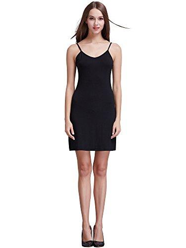 Coreal Damen Unterkleid Slim Nachthemd Verstellbare Träger nachtwäsche Schwarz Medium -