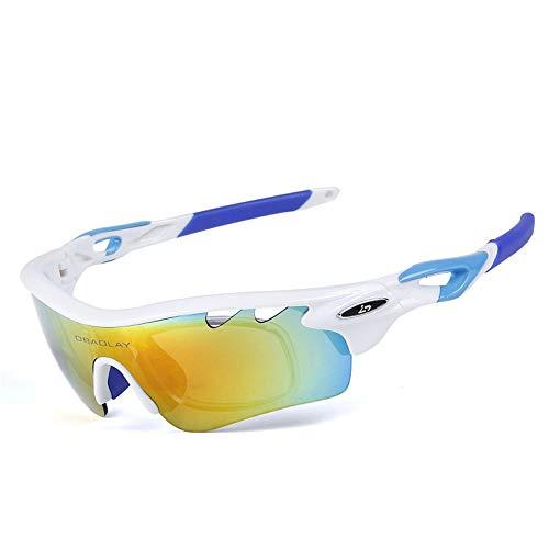 Sonnenbrillen Mode Radfahren Brille Objektiv Ersatz 5 STÜCKE Outdoor Sports Männer Und Frauen Schützen Sich Vor Blasen Sand Polarisation Augenschutz Brille (Farbe : Weiß)