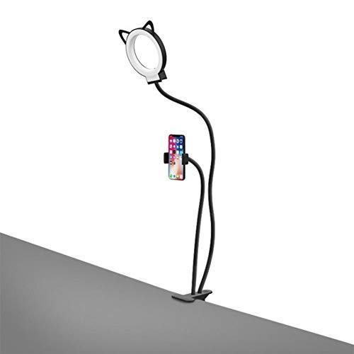 M-znsh 2-in-1-Live-Broadcast-Ständer, Handyhalter mit Selfie-Ringlicht für Live-Stream, Video-Chat, 3-Level-Helligkeit Selfie-Licht, 360 drehbare, Flexible, Lange Armhalterung für Smartphone (Chat Live)