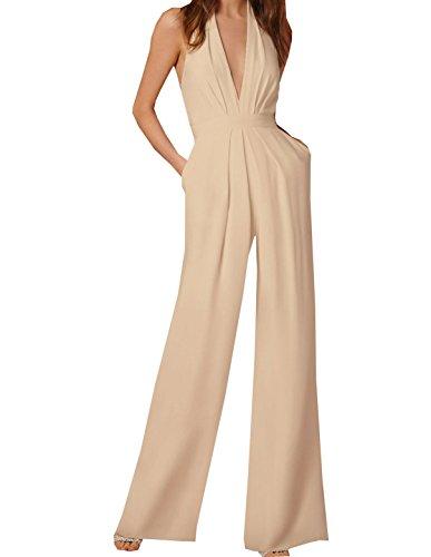 Donna jumpsuits v collo pantaloni a vita alta elegante tutine lntere senza maniche lungo di colore solido tutine intere monopezzi
