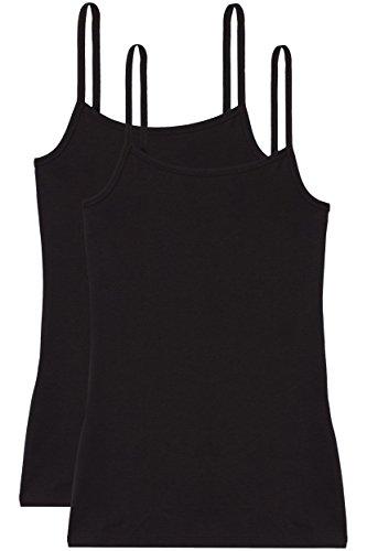 Iris & Lilly Damen dünnes, wärmendes Thermounterwäsche Unterhemd, 2er Pack Schwarz (Black)