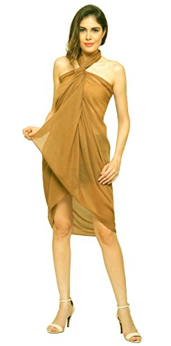 World of Schals Uni Sarong, Coverup, Schal, Big Größe 110 cm x 200 cm, Gold