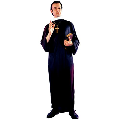 Priester Priesterkostüm mit Kreuz Kirche Kostüm Pater (Pater Kirche Kostüm)