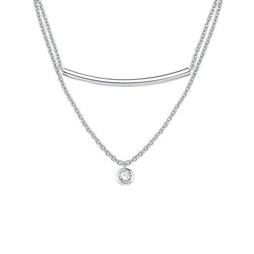 s.Oliver Damen-Kette mit Anhänger 42+3 cm 925 Silber rhodiniert Zirkonia weiß 45 cm 2015113