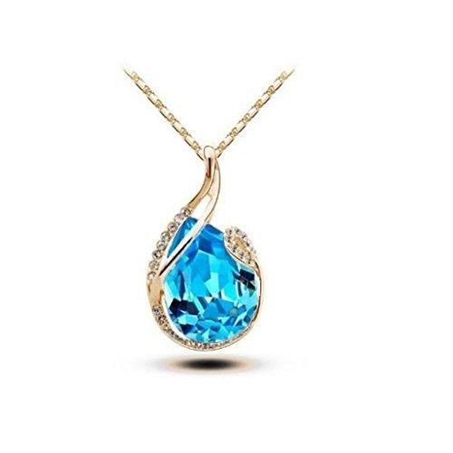 Collier goutte swarovski elements plaqué or Bleu turquoise
