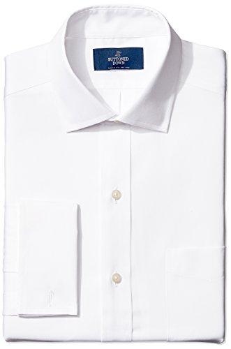 """Marca Amazon - BUTTONED DOWN - Camisa de vestir con puño francés de corte clásico con cuello abierto de algodón Supima para hombre que no necesita planchado, Blanco (white), 16.5"""" Cuello 37"""" Manga"""