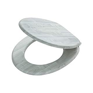 Tiger Toilettensitz Titan, WC-Sitz mit Absenkautomatik und Soft-Touch-Oberfläche, Holz, Farbe: Grau, Metallbefestigung