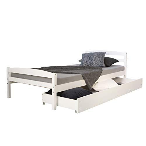 Homestyle4u 1413 Holzbett Kiefer massiv , Einzelbett aus Bettgestell mit Lattenrost und Bettkasten , 90x200 cm , Weiß