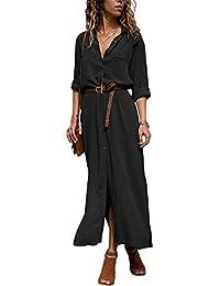 ORANDESIGNE Donna Vestiti Lunghi Eleganti Vestito con Scollo a V Manica  Lunga Casuale Pianura Camicia Abiti 22cb7a0a989