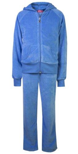 Tuta in velluto da bambina, pantalone e felpa Sky Blue 11-12 Anni